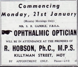 OPTICIAN AT HOBSON'S CHEMIST 1963 001