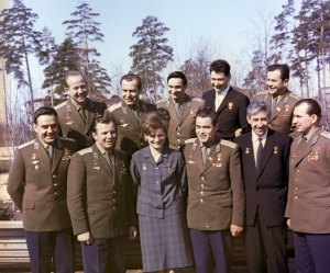 Alexey Leonov (left, back row) with fellow cosmonauts in 1965